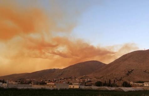 Smoke in the sky over Lebanon
