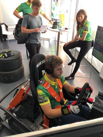 A driver participates in a sim racing competition in 2019. This year, the pandemic has forced professional races to go virtual.